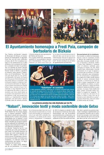 Ander Aldekoa en l periódico municipal Getxoberri de Getxo